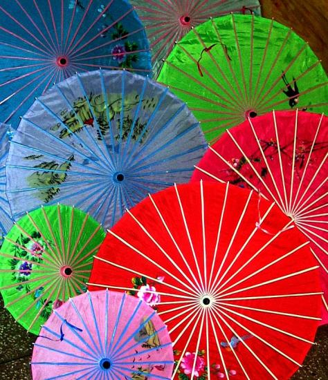 Parasol display in Chinatown.