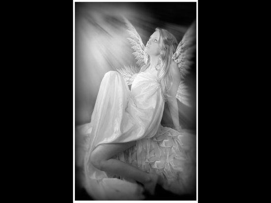 Amber angel wings fantasy bw monocrome steveflydeals