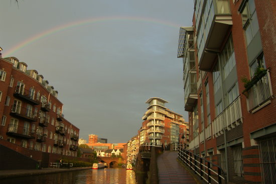 Birmingham City Metro England Canal Sunset Rainbow