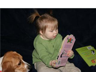grandchild dog books reading