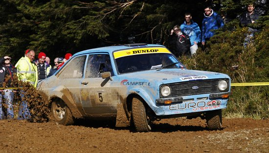 Rally Car Ford Escort MKII Birr Forrestry Stage Nenagh Ireland Peter OSullivan