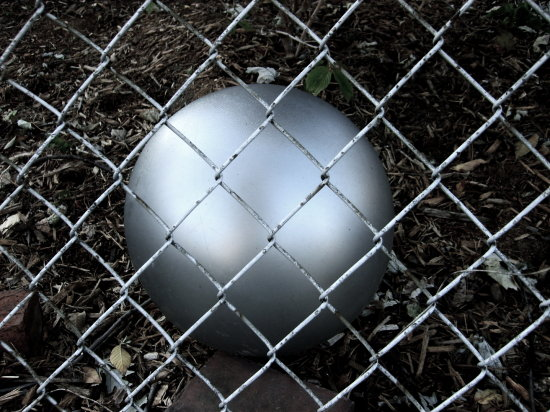 silver ball chainlink fence