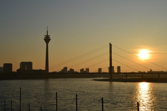 dusseldorf on the rhein river at sundown
