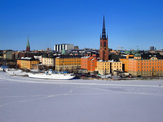 Stockholm,  view over Old Town from Mariaberget on  the heights of Souths..      .