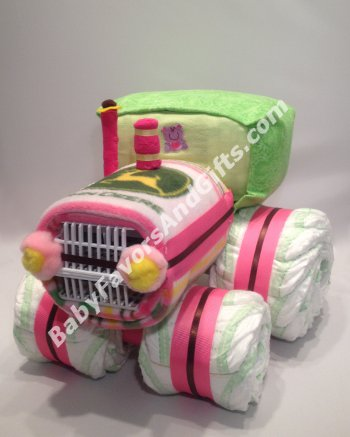 Tractor Diaper Cake for Girl