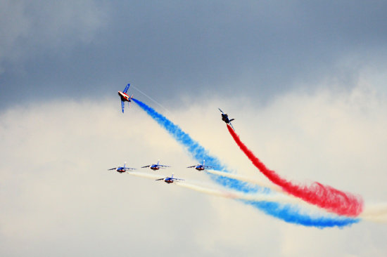 This team is Patrouille de France, who also performed a stunning acrobatic show in the air.