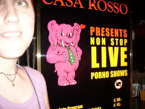 rosa in front of a live sex show