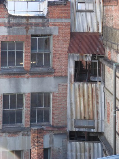 Age and neglect. Back view of Speights Brewery. Dunedin.