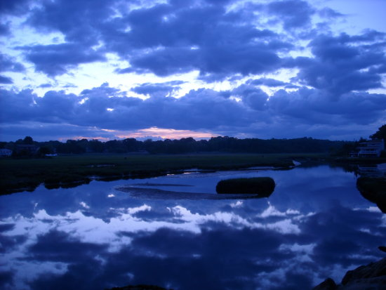 reflection water sky blue tranquil