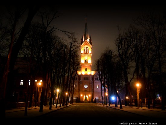 zabrze poland church night view wojtek borawski