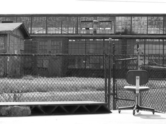 chair industrial chainlink fence blackwhite bw