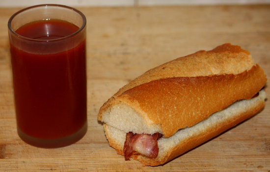 Bacon in a baguette - Bloody Mary