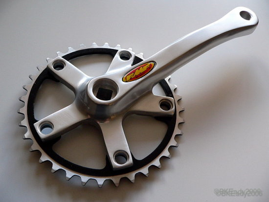 bmx bike cycle part crank chainring closeup