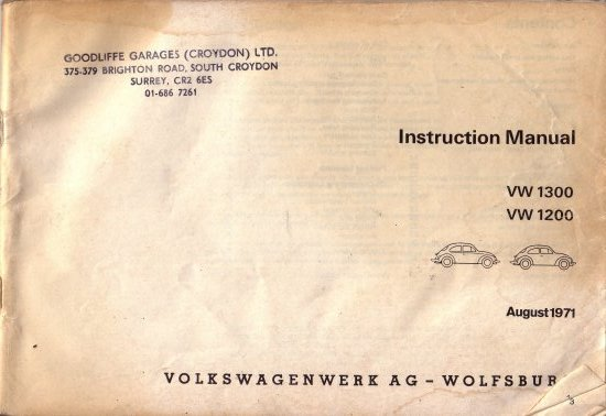 VWbug VWbeetle VW bug beetle manual croyden