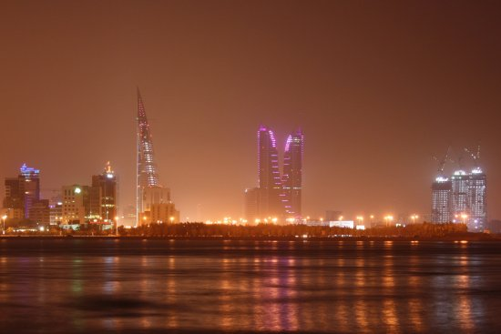 Bahrain Manama Gulf Night Skyline Beautiful Light Sea Building City BFH WTC