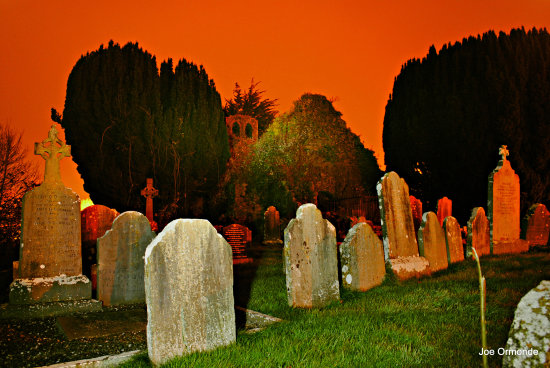old church gravestones sky trees night