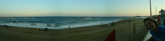 panoramic view beach barcelona