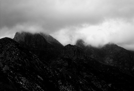 mountain bw landscape nature clouds