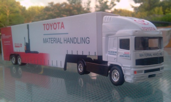 1/64 Scale Corgi Superhauler with a self made Toyota Material Handling Livery