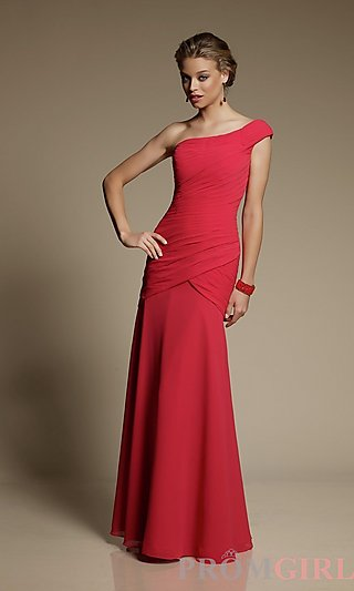 One Shoulder Chiffon Dress evening dress
