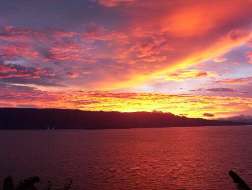 sunset toba lake north sumatera indonesia
