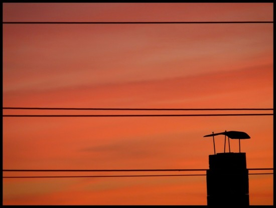 if you can't beat them, join them !! wires in sunset :-))