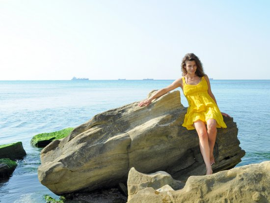 girl woman wife portrait yellow summer beach sea varna bulgaria