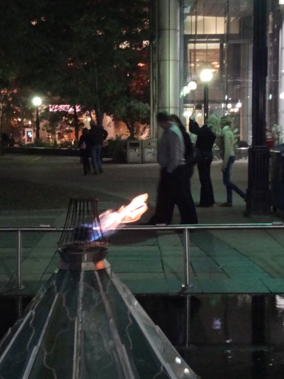 At 8:25pm.Outside,next by the Roy Thompson Hall-a flame lit up-part of the nuit blanche event-On ...