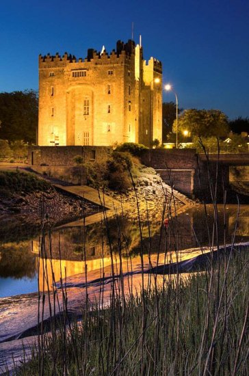 Landscape Night Castle River Bunratty Ireland Clare