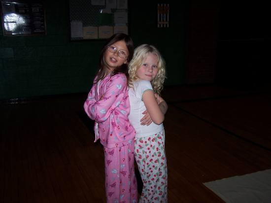 """Addison and her friend Tina. They were ready for their play """"Saturday"""". It was really good!"""