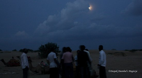 thar desert people camels night moon