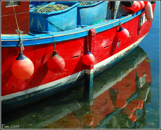 mevagissey red boat fishing sea