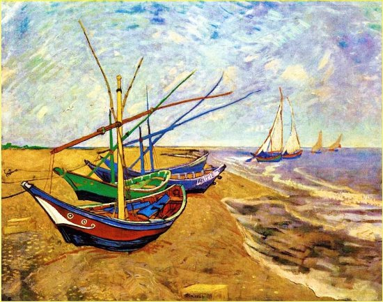 Original Oil Paint 1888 Vincent Van Gogh Boats at St Maries