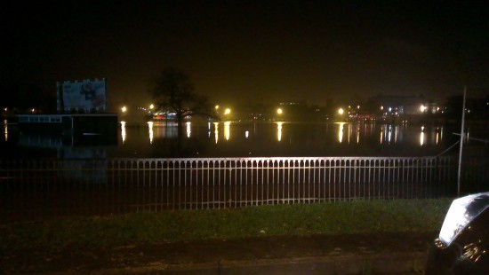 "Worcester Pitchcroft racecourse flooded again - I think ""the going"" may be a little on the soft s..."