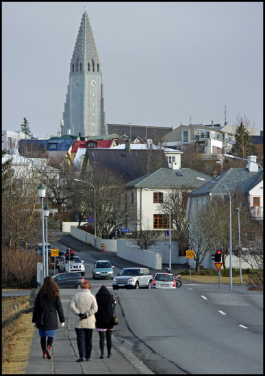 Hallgrimskirkja church iceland street bridge people reykjavik