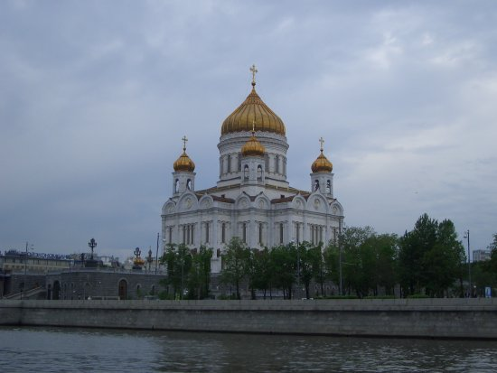 This is a view of the Cathedral of Christ the Savior from the Moscow River. I took it in Moscow, ...