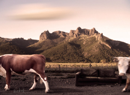 landscape paisajes animals vaca cow mountain montaa animales digital art