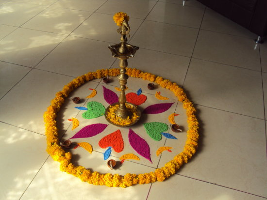rangoli in diwali of riverbay