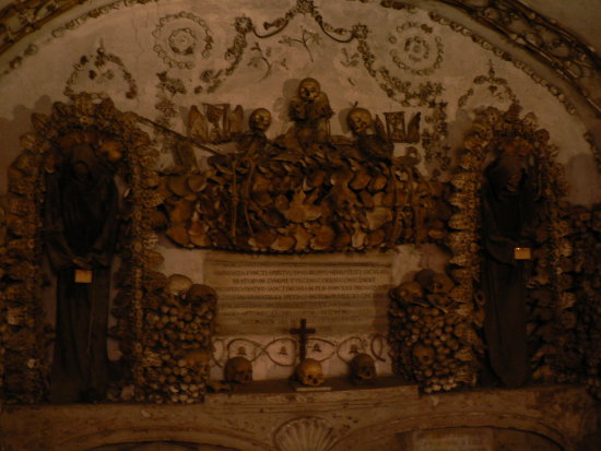 freaky church that is decorated in dead monk skeletons