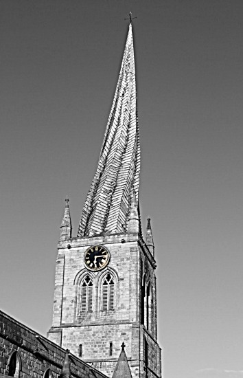 Chesterfield Derbyshire Crooked Spire BW