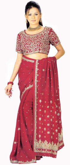 Apparel Bridal Indian Dark Dealer Maroon Saree Georgette Blouse with