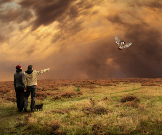 time hourglass wings moor photomontage cat landscape