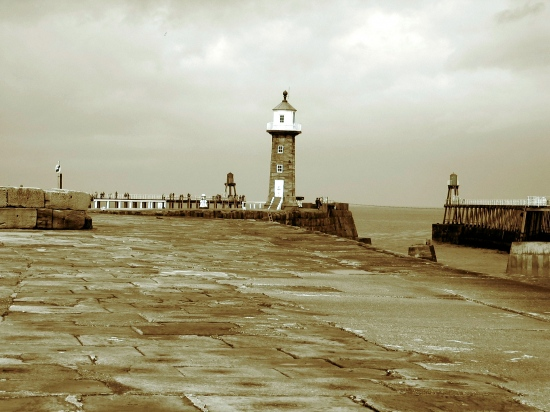 sepia blackandwhite seascape lighthouse harbour