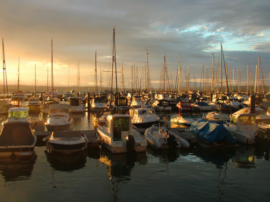 Brixham harbour at sunset