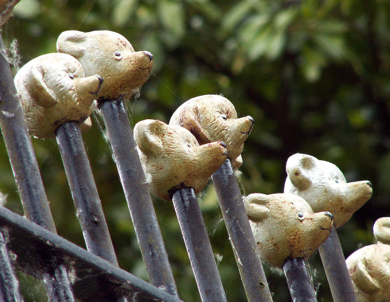 railings rail teddy bear metal iron grey