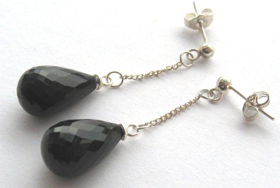 Black Onyx silver earrings crimeajewel