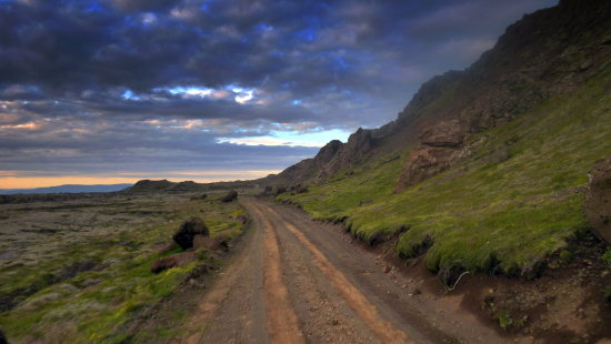 Gravel road  in Iceland ----and a great weather for it