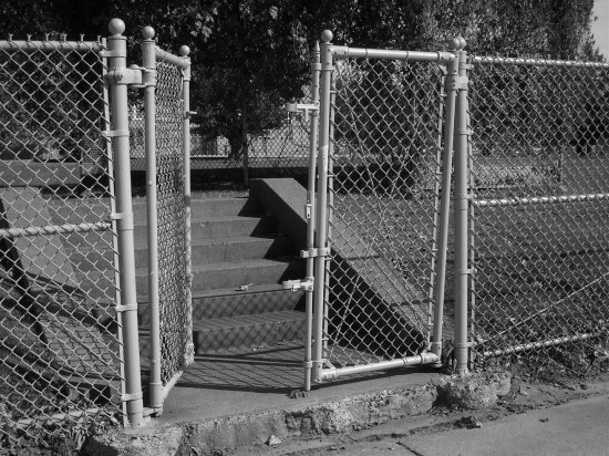 gate chainlink fence blackwhite bw