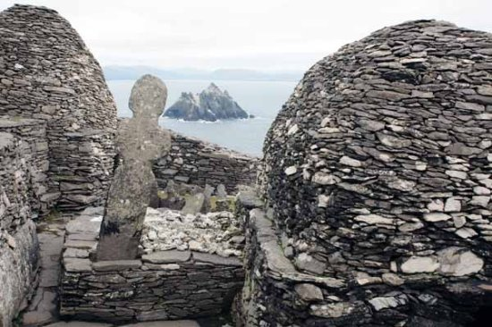 Beehive huts on the Skellig - these are the houses where the monks lived and they are built of st...
