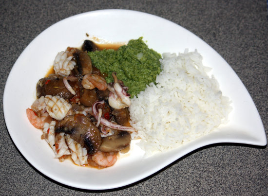 Seafood and mushroom stew, spicy broccoli purée and rice. Dinner tonight.